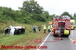 Un minibus avec cinq personnes à bord quitte la route, deux blessés légers (Perrecy-les-Forges)