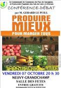 Conférence-débat le vendredi 7 octobre 2016 à Neuvy-Grandchamp...