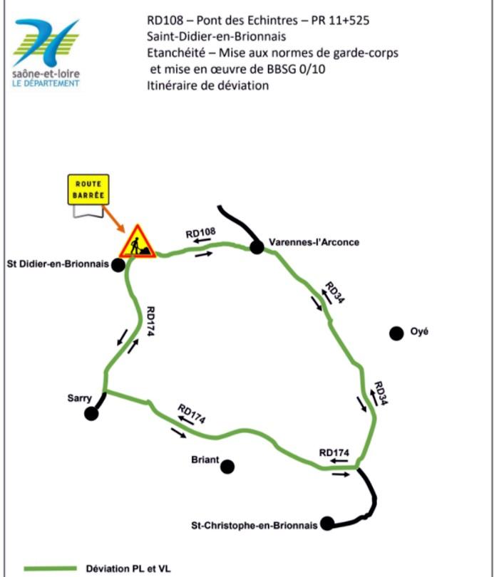 RD 108 – Commune de Saint-Didier-en-Brionnais Pont des Echintres
