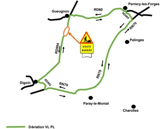 RD994 – Communes de Gueugnon et Rigny-sur-Arroux